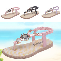 Bright drill CLIP foot children cool slippers girls beach shoes soft bottom flip-flexo purple 31 yards