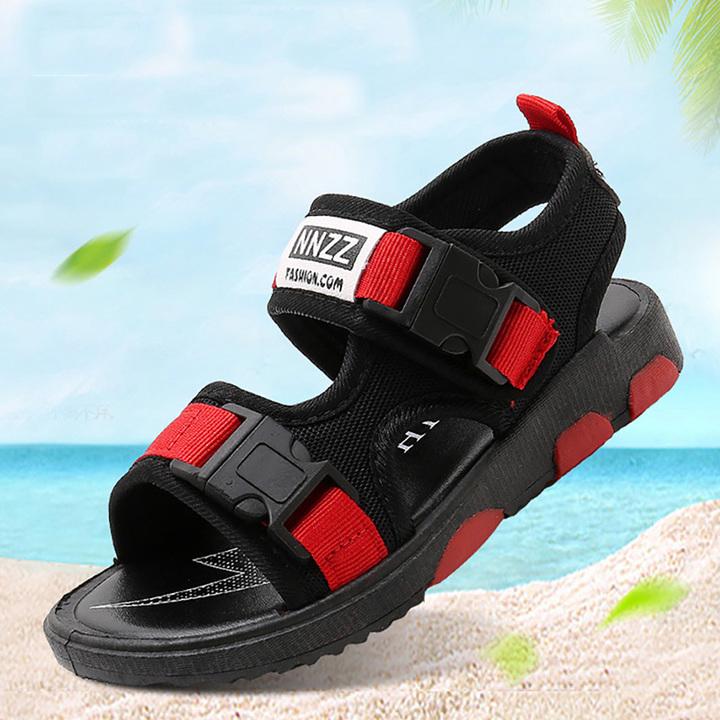 Children's sandals, boys 'shoes, summer pupils, anti-skid beach shoes, classic fashion. black 27 yards