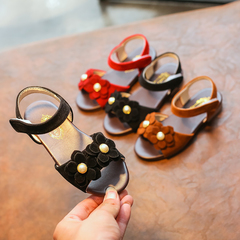 Girl's beach open-toed non-slip sandals in the big boy Korean version of Pearl bow flower sandals black 21 yards