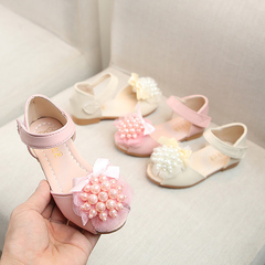 Girl princess sandals fashion lace flower shoes children students soft sandals Girls Casual Shoes pink 29 yards