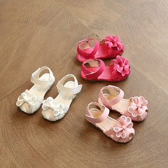Children's sandals, baby soft bottom lace lace sandals, girls 'girls' baotou sandals.girls shoes white 21 yards