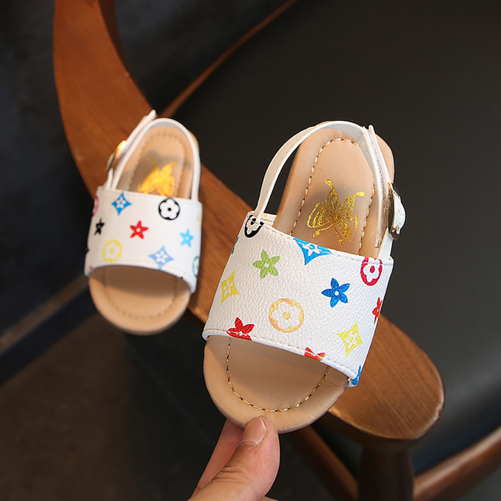 Shoe sandal male baby non-slippery soft bottom boot children beach shoe tide boys shoes men white flower 21 yards