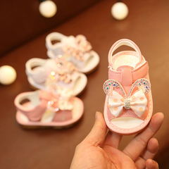 Baby girl sandals butterfly knot princess shoes girl soft bottom bear foot shoesGirls Shoes white 16 yards