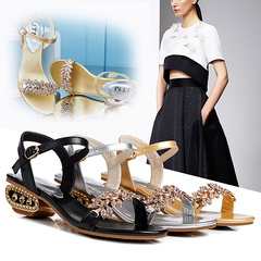 Summer sandals a word of cool slippers water drill open toes women's shoes, low heels, crystal shoes black 35