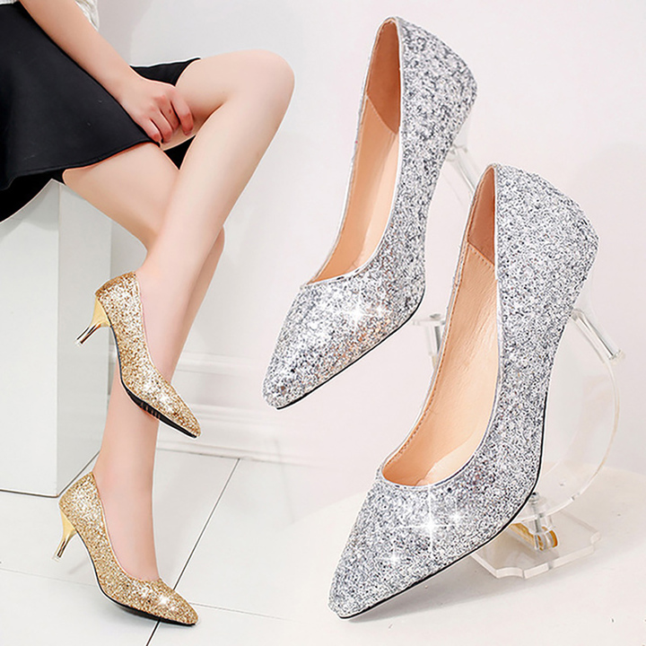 Wedding Shoes 2018 New Crystal Shoes Bridesmaid Shoes High Heel Night Club Shoes heels silvery 34 yards