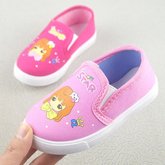 Children's shoes cartoon pattern soft bottom children breathable canvas shoes Casual Shoes pink 28 yards