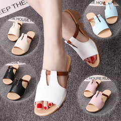 Flat cool slippers, women's leisure slopes and women's leather beach shoes ladies shoes women black 35