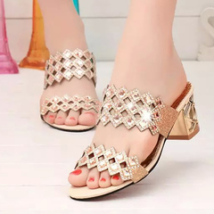 Cool slippers, women's fashion outside wearing new high heels, a word thick heels fish mouth shoes red 35 yards