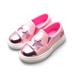 2019 New children's board shoes stars 1-12 years old boys and girls leisure lazy shoes pink 26 yards
