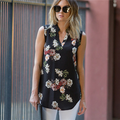 2019 Explosion sleeveless vest flower print V collar chiffon shirt Clothes Women's Clothes Tops black1 s