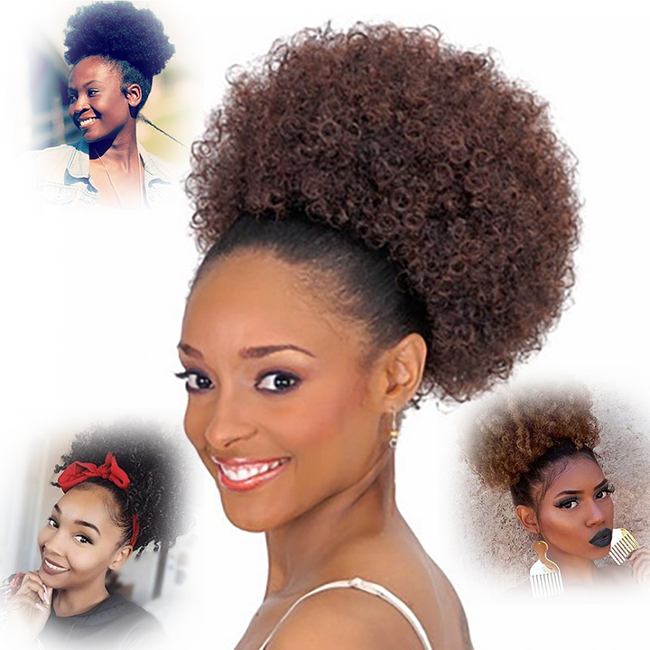 Hot for black caterpillar hair, small curly hair, fashion, fluffy explosive hair.Blended Hair black1B# small size