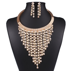 European and American high-end luxury fashion fringe necklace earrings set collar accessories normal normal