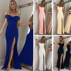 2019 New popular long  ladies dresses, burst out dress, simple chest, split dress and floor dress s black