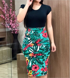 Hot sale new 2019 European and American spelling flowers wrapped hip dress large size women's dress s black