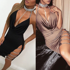 New Summer Women Sexy Chocker Cocktail Club Dresses Bandage Sleeveless V neck Party Short Mini dress s black