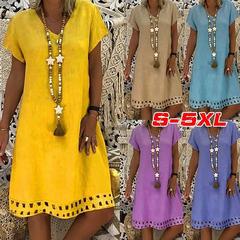 Casual V-Neck Cotton and Linen Dress Women Vestido T-shirt Cotton Casual Plus Size Ladies Dress s khaki