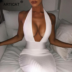 2019 European and American cross-border women's fashion sexy sleeveless open-shoulder dress s white