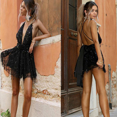 New women's suspenders nightclub sequins deep V collar sexy back halter swagger dress skirt s black