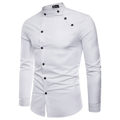 Men's fashion cut two-door design long-sleeved shirt buttoned shirt collar men's clothes gentleman white m