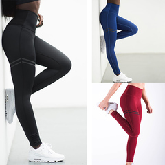2019 Thin high waist yoga trousers movement high-waist solid color underpants pure color burst black s