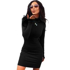 Burst 2019 Winter New Women's High Collar Long Sleeve Shown Medium Long Dress Women's Clothes Work black s