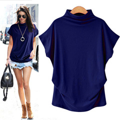 Women Casual Turtleneck Short Sleeve Cotton girl Casual Blouse Top Shirt female blue s
