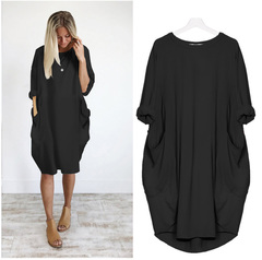Autumn Womens dresses Pocket Loose Dress Ladies Crew Neck Casual Long girl Tops Dress female fashion s black