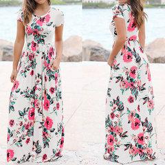 Women Long Maxi Dress Floral Print Boho Beach Dress Short Sleeve Evening Party Dress Tunic s white