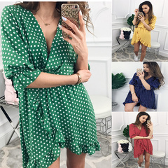 Women Dress Ruffles Print Polka Dot Sexy Bodycon Beach Female Half Sleeve Summer Party Mini Dresses s red