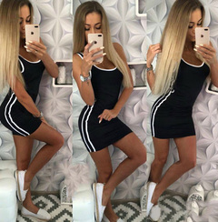 Summer Women Fashion Sexy Tank Dress Casual Vest Sleeveless Strap Hot Sundress Slim Party Female black s