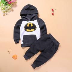 2019 Autumn Winter Boys Children Clothing Set of 2 Set Baby Boy Clothes Batman Kids Sports Suit gray 90cm