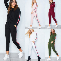 European hot selling foreign trade sexy women's leisure sports kit Women's Clothes Suits  Separates black s