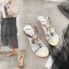 Women's sandals 2019 new Korean slope and loose belt women's shoes beaded flowers Bohemia silvery 36 yards
