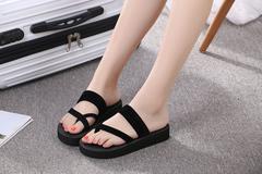 Burst household indoor foam flip-flops female comfort level and drag casual beach shoes black 35 yards