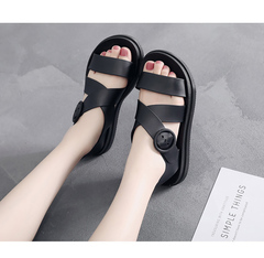 Flat bottom plastic sandals female thick bottom non-slip waterproof students jelly beach shoes black 35 yards