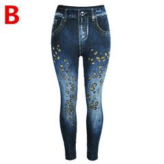 Autumn Blast Female Cowboy Punch Pants Cotton Fashion Print High Waist Nine Pants Trousers Leopard blue s