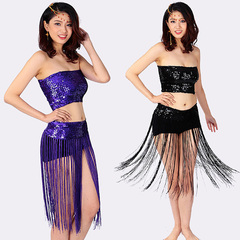 Sexy sequins, chest wrap, stage costumes, dancing, tassels, nightclubs, body parts.Dance Costumes normal black