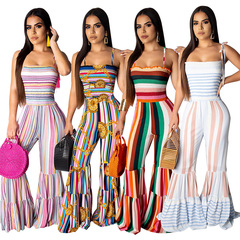 Fashion pop couture sexy chest wrap Sling jumpsuit rainbow striped horn pants jumpsuit summer white s