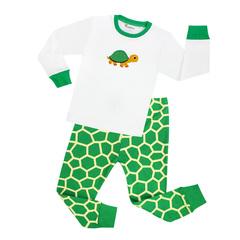 pajamas children sleepwear baby pajamas sets boys  animal pyjamas pijamas cottonBoys Clothing Turtle green 2T