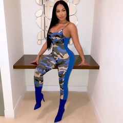 European and American fashion camouflage splice Suspender club jumpsuit Clothes Women's Clothes blue s