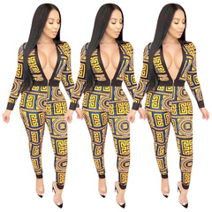 European and American women's fashion national style sexy V collar zipper jumpsuit set Women's yellow s