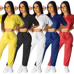 Burst European and American Pure Color Cap Zipper Sports Set Clothes Women's Clothes Gymwear black s