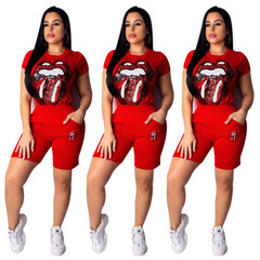 2019 European and American women's fashion lips pattern short-sleeved trousers two sets of suits red Lips s
