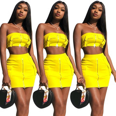 Pop European and American fashion stretch top zipper suit Clothes Women's Clothes Suits Separates yellow s
