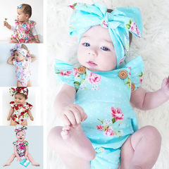 INS Explosive Children's Clothes Climbing Clothes Summer 2019 Blue Flowers Neonatal Clothes blue flower 70cm