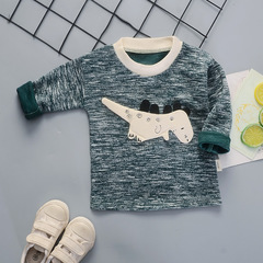 Children's Sanitary Clothes 0-4 Years Old Baby's Casual Long Sleeve T-shirt Single green 80cm T-shirts