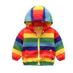 Children's stormwear boy's jacket 2019 new baby cartoon windbreaker children's fashion rainbow Hat 90cm