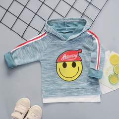New Boys'Cotton Blouse, Children's Pullover, Single Dress, Bottom T-shirt and Long Sleeves blue 80cm pure cotton