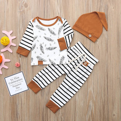 Hot Sale Newborn Baby Boy Girl Feather T shirt Tops Striped Pants Clothes Outfits Set Baby Clothes orange 80cm t-shirts