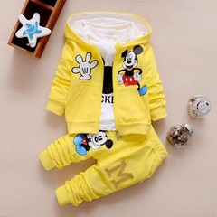 Baby Girls Boys Clothes Sets Cute Infant Cotton Suits Coat+T Shirt+Pants Casual Kids Children Suits yellow 80cm(s) pure cotton